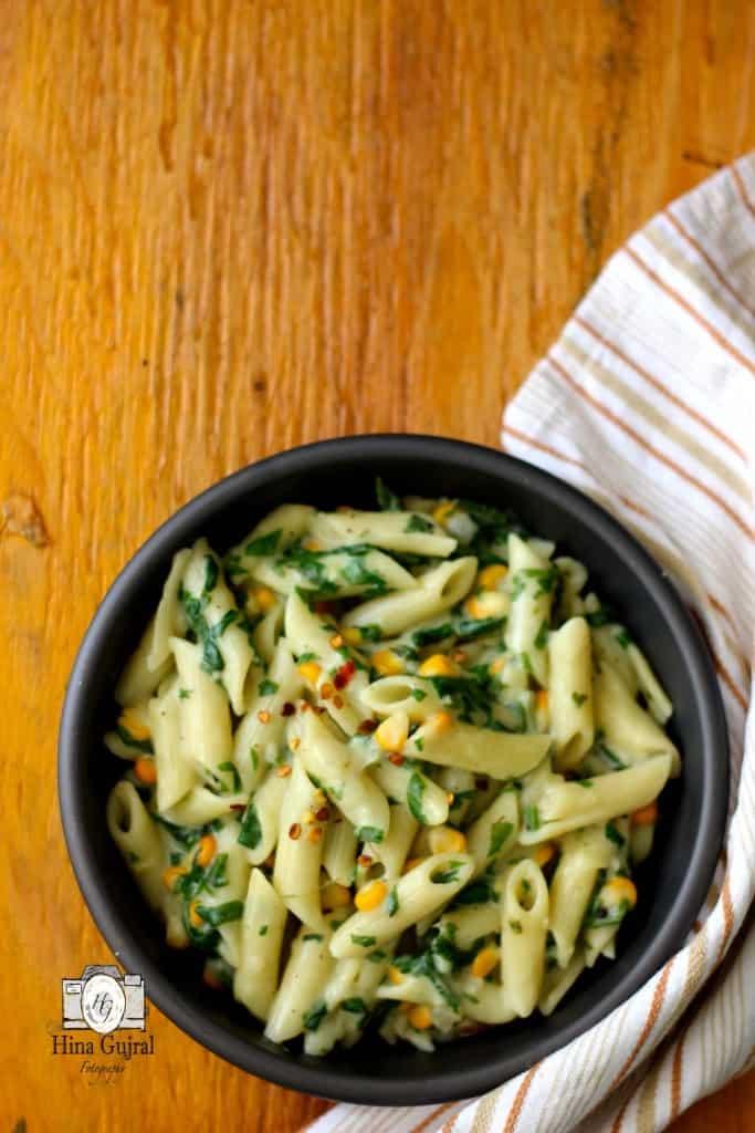 Creamy Spinach Corn Pasta