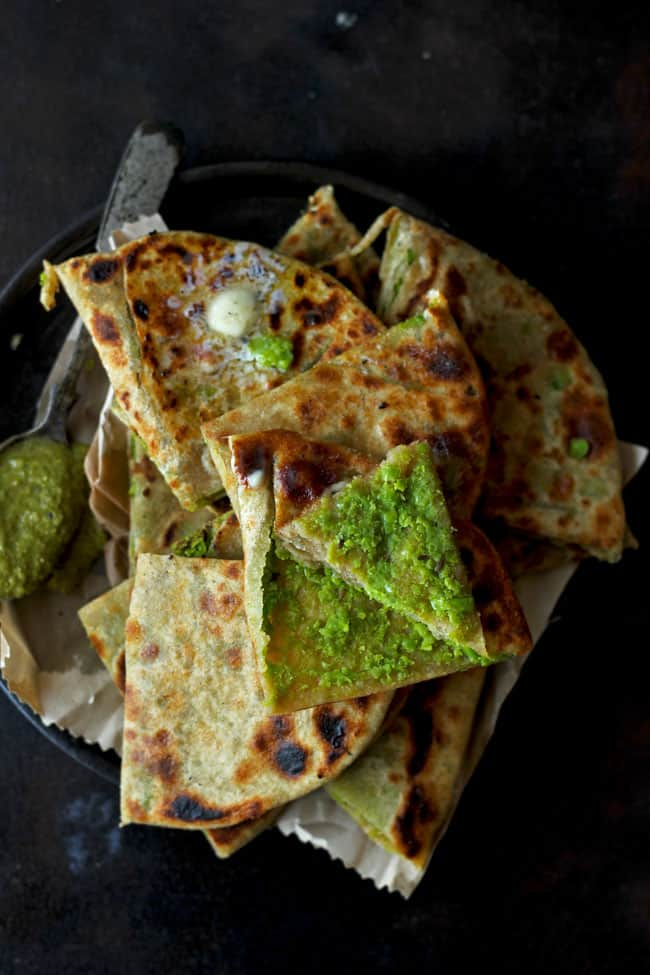 Matar Ka Paratha is a vegan and vegetarian green peas stuffed Indian flatbread.