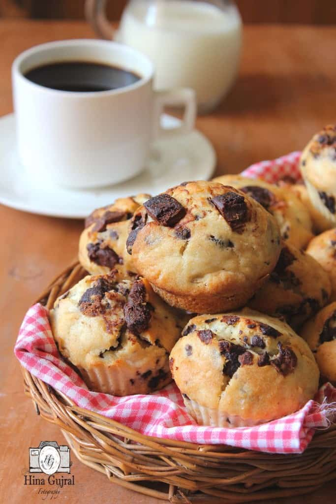 Stack Of Double Chocolate Chip Muffins