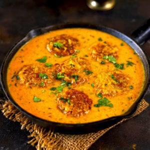 An Indian style vegan kofta curry