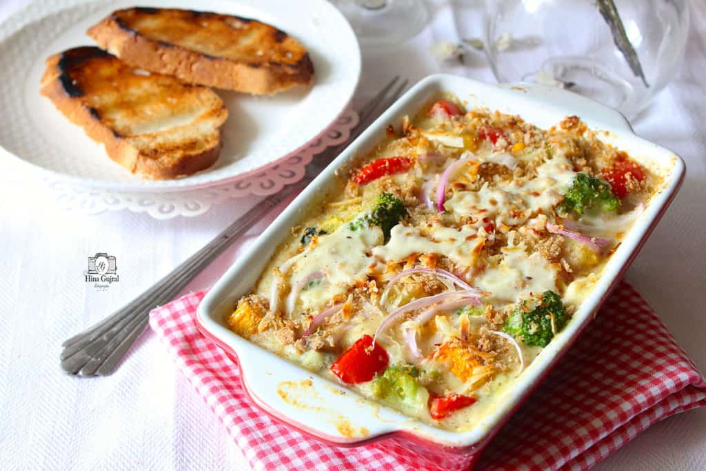 Baked Vegetable in White Sauce Recipe