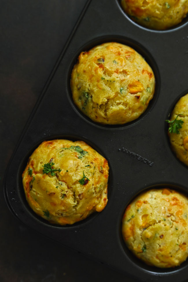 Cheese Muffin is perfect teatime bites loaded with cheese, sweet corn and fresh herbs.