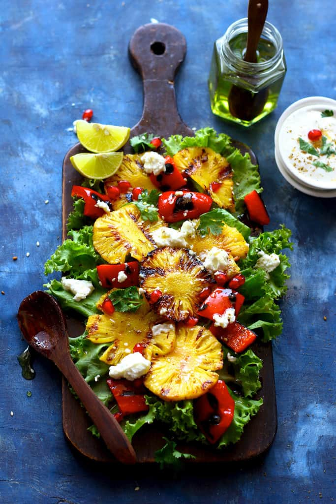 This grilled pineapple salad takes its cue from the sweet and tangy flavors.