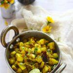 Kachhe Kele Ki Sabzi is a no onion - garlic recipe prepared using raw bananas. An excellent gluten free dish.