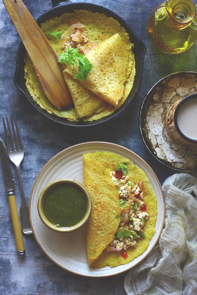 Moong Dal Cheela is a vegan, gluten-free Indian breakfast recipe.