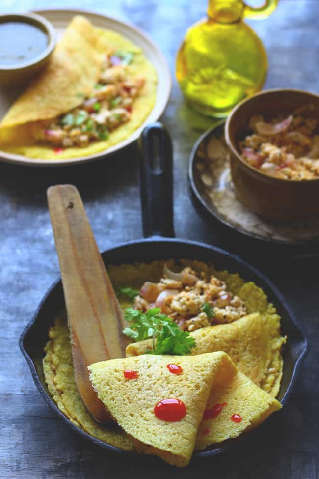 Moong Dal Cheela is a 100% gluten free breakfast/lunch recipe. In my opinion, if you are looking for a low-calorie diet than Moong Dal Cheela is a great choice.