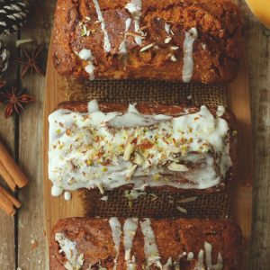 This pumpkin cake is loaded with the flavor and aroma of the Indian tea spice blend.