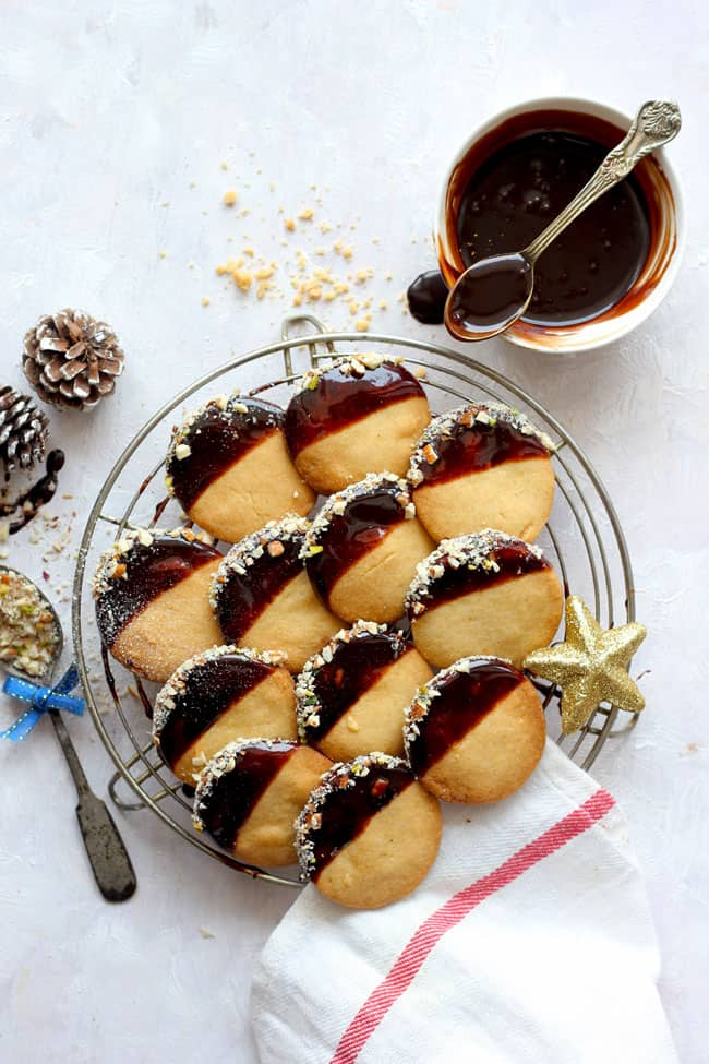 Chocolate Dipped Shortbread Cookies - Fun FOOD and Frolic