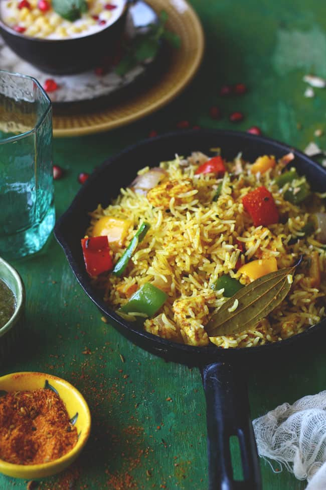 Achari Paneer Tawa Pulao is one of the simplest recipes I have tried with the achaar masala (pickle spice mix). Find recipe