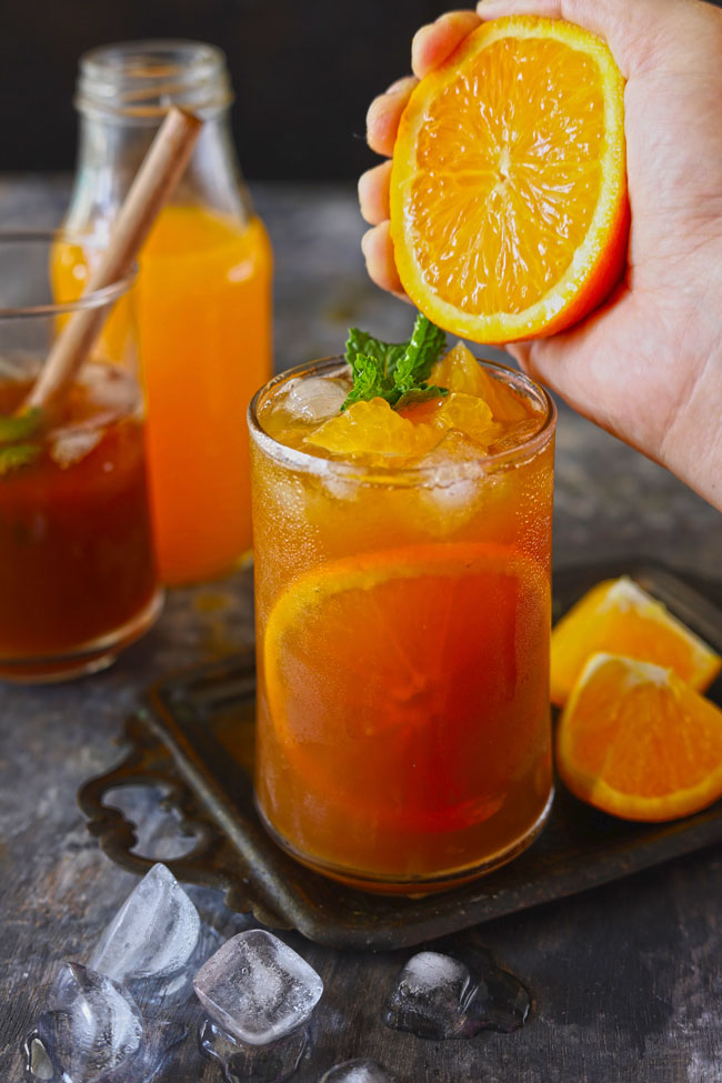 A home brewed iced tea with orange flavor