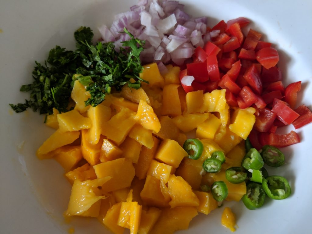 A sweet and spicy vegan mango salsa