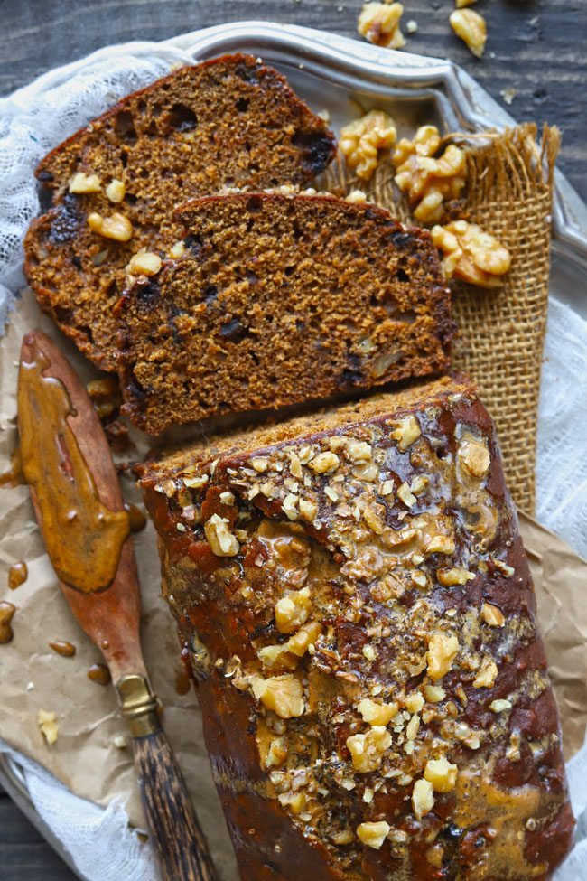Sliced Date Nut Bread Coated With Coffee Glaze