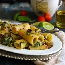 Spinach and Eggplant Rigatoni with Lemon Cream Sauce