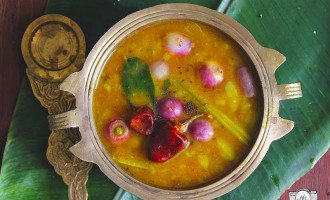 Sambar is a spicy, sweet, succulent South Indian stew of lentil and mixed vegetables. Find how to make quick vegetable sambar recipe