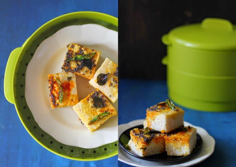 Gujarati Khatta Dhokla is steamed rice and lentil fudge seasoned with curry leaves, mustard seeds and red chili powder. Find recipe