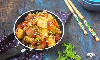 Potato and Red Beans Chinese Stir Fry is an easy to make a stir-fry appetizer, the addition of red kidney beans provide a healthy dimension to this dish.
