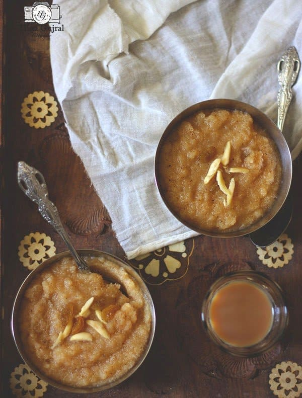 Suji Ka Halwa is simple, uncomplicated Indian style semolina pudding, made with basic ingredients - semolina, sugar, and ghee.
