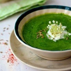 the deep light-green thick sloppy soup packed alongside the nutrition of spinach in addition to milk Desi Health Bites – Palak (Spinach) Shorba
