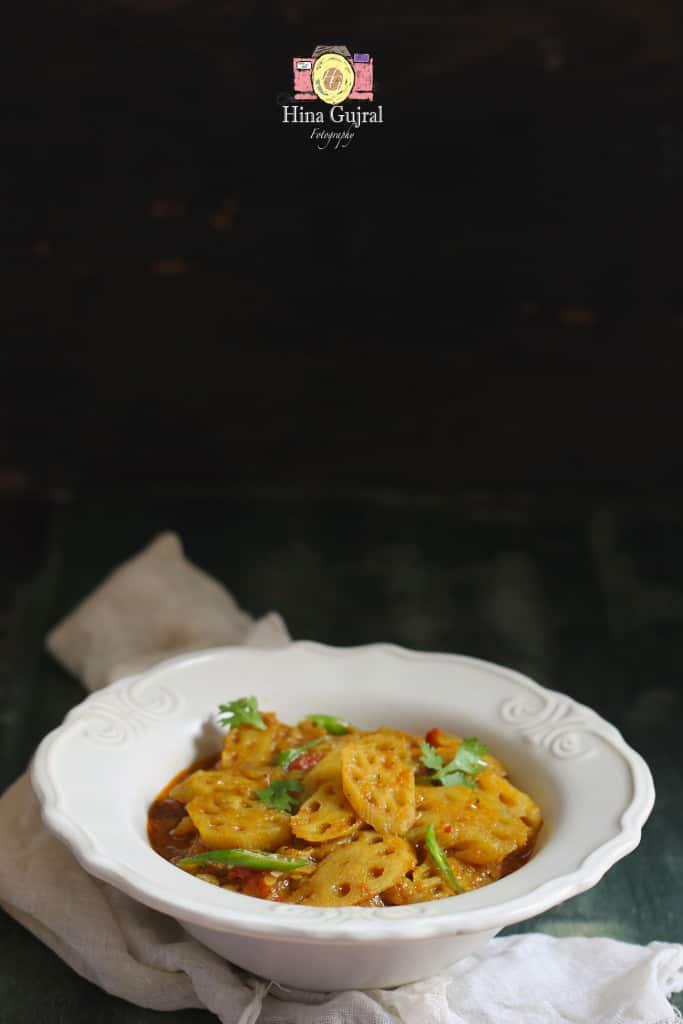 Kamal Kakdi Ki Sabzi is a succulent brown curry made with crisp and fibrous lotus stem. Find how to make kamal kakdi ki sabzi