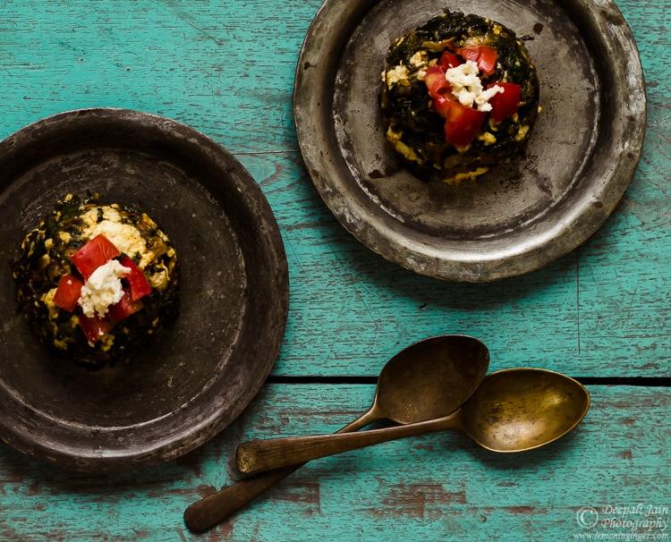 free recipe of classic Indian side dish  Palak Paneer Bhurji Recipe