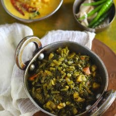 Mooli Ke Patton Ka Saag is a delicious Punjabi dish relished during the winter season. Find recipe of Mooli Ke Patton Ka Saag