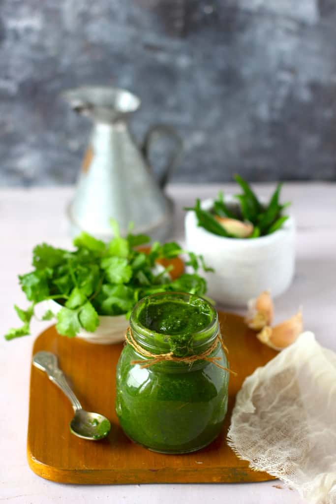 Mint Chutney in a glass bottle