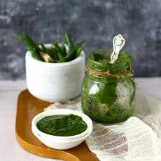 Mint Chutney in a white bowl