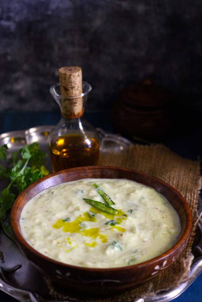 The first taste impression of Pahadi Kheere ka Raita is like a hit of strong taste, and definitely not subtle at all.