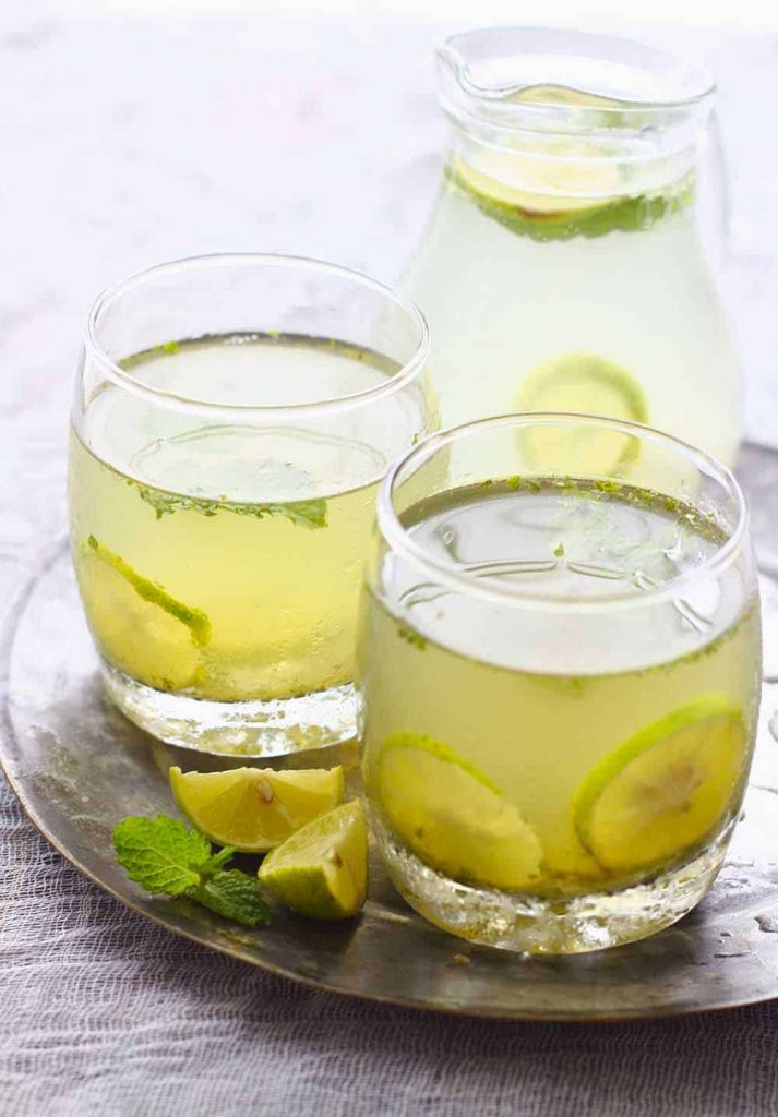 Time to experiment amongst the refreshing combination of lemonade in addition to the cooling mint Nimbu Pudina Sherbet (Mint Lemonade)
