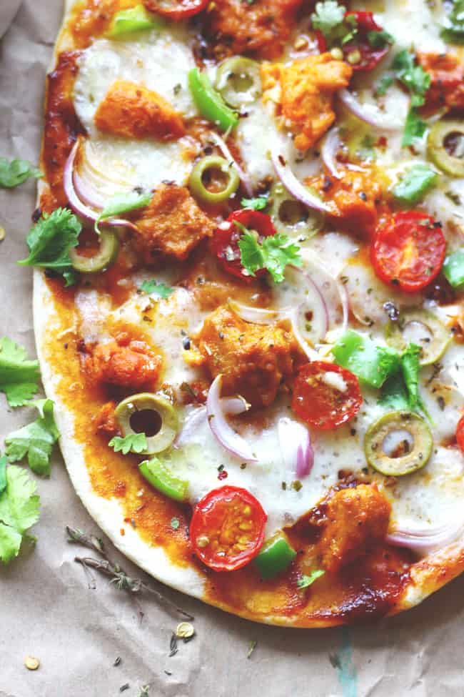 The combination of butter chicken and cheese is a guaranteed riot of flavors. This particular naan pizza is phenomenal and so easy to make.