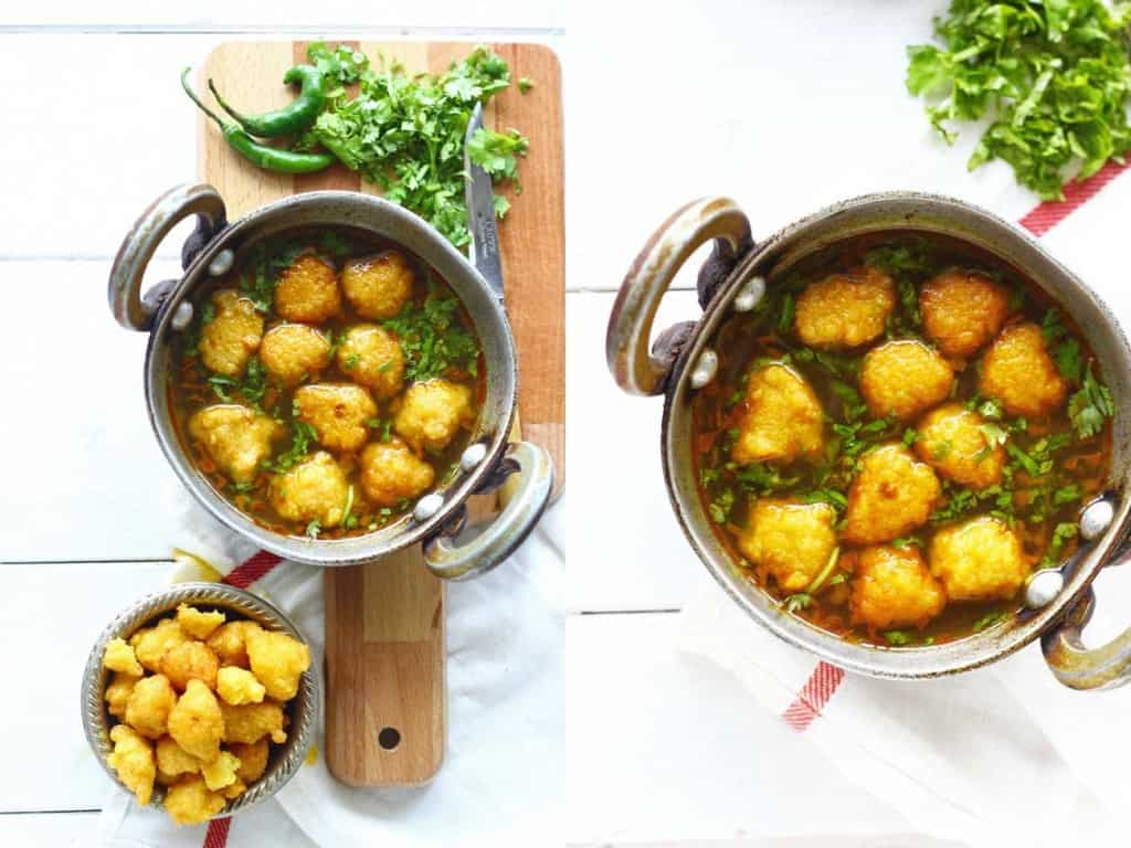 Pakodi Ki Sabzi is a delicious gluten-free, vegan yellow moong dal dumpling curry sans any onion or garlic. Super flavorsome and so simple to prepare.