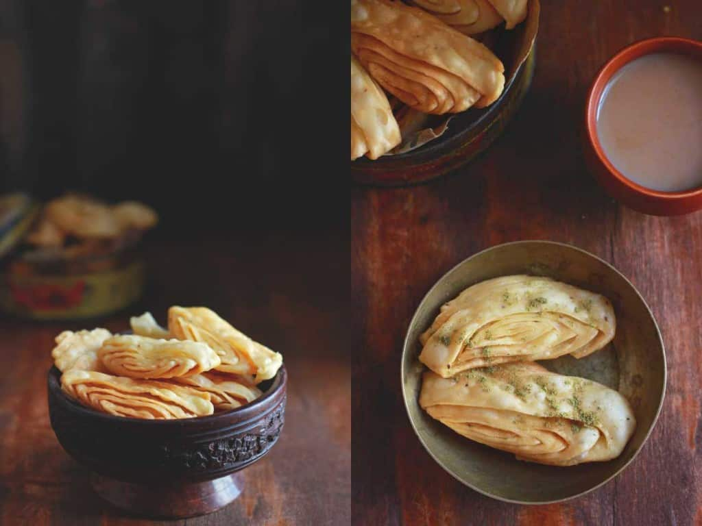 Nimki (Savory Crackers) is a popular Indian tea-time snack. This Nimki recipe has no butter or oil in the dough. Perfect for the festive indulgence.