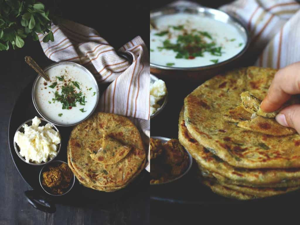 Packed with excitement; that describes the Aloo Methi Parathas best of all! Served with simple raita, freshly churned white butter and aam ka achaar, these Methi Parathas are one of our favorite winter breakfast.