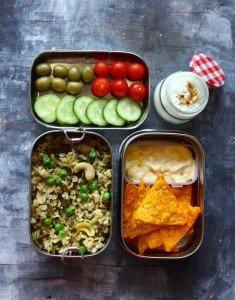 Methi Brown Rice Pulao, Chips & Dip