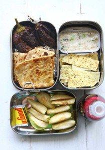 Bharwa Baingan, Hummus & Crackers