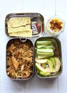 Brown Rice Biryani, Crackers, Fruits