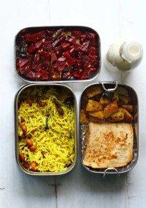 Lemon Rice, Bombay Potatoes, Beetroot Poriyal