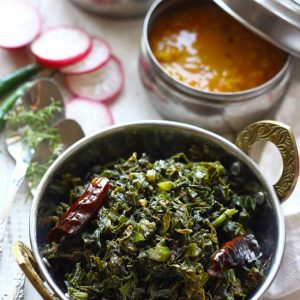 Pahadi Lai Ki Sabzi is the simple stir-fry of a local variety of mustard greens.