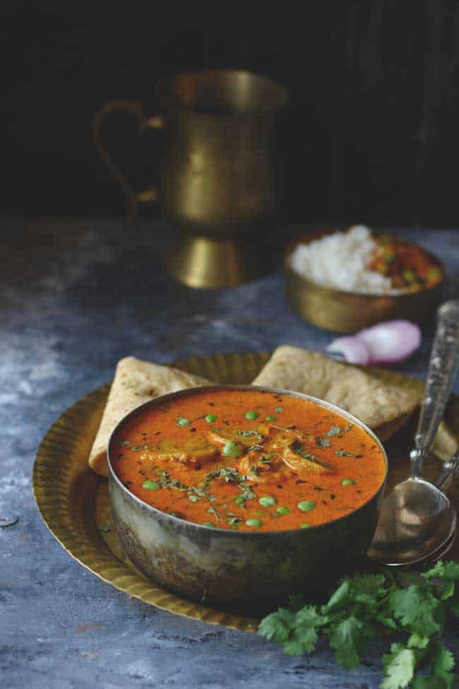 This delicious Matar Mushroom Masala recipe is easy to make, naturally gluten-free, and full of the most gratifying curry flavors.