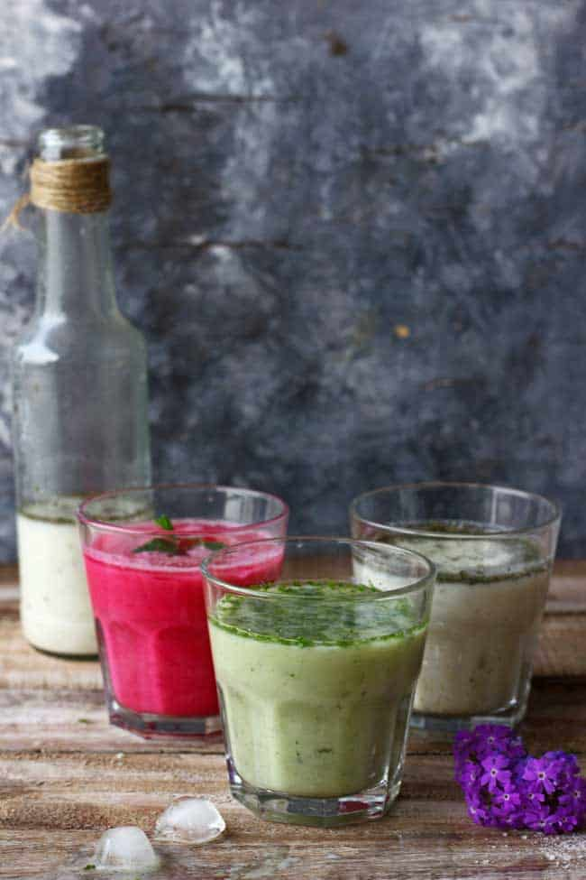 Masala Chaas aka flavored buttermilk is one of the most popular Indian summer drink. Find out how to make masala chaas in three different flavors.