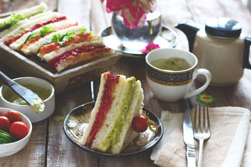 Teatime Sandwiches are the best menu choices for the summer tea party. Find how to make rainbow teatime sandwich in few simple steps