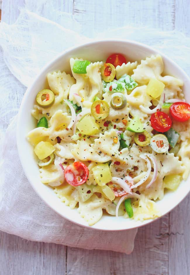 This summer pasta salad is loaded with pineapple and a creamy, flavorsome homemade dressing.
