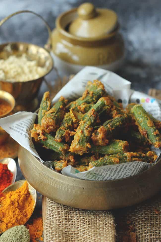 Indian Style Crispy Fried Okra In A Brass Bowl