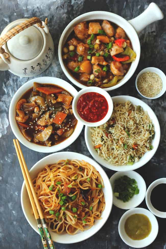 Indo-Chinese Party Recipes - Veg Hot Garlic Sauce, Kung Pao Chicken, Fried Rice, Chilli Garlic Noodles, Hot Sauce, Spring Onion