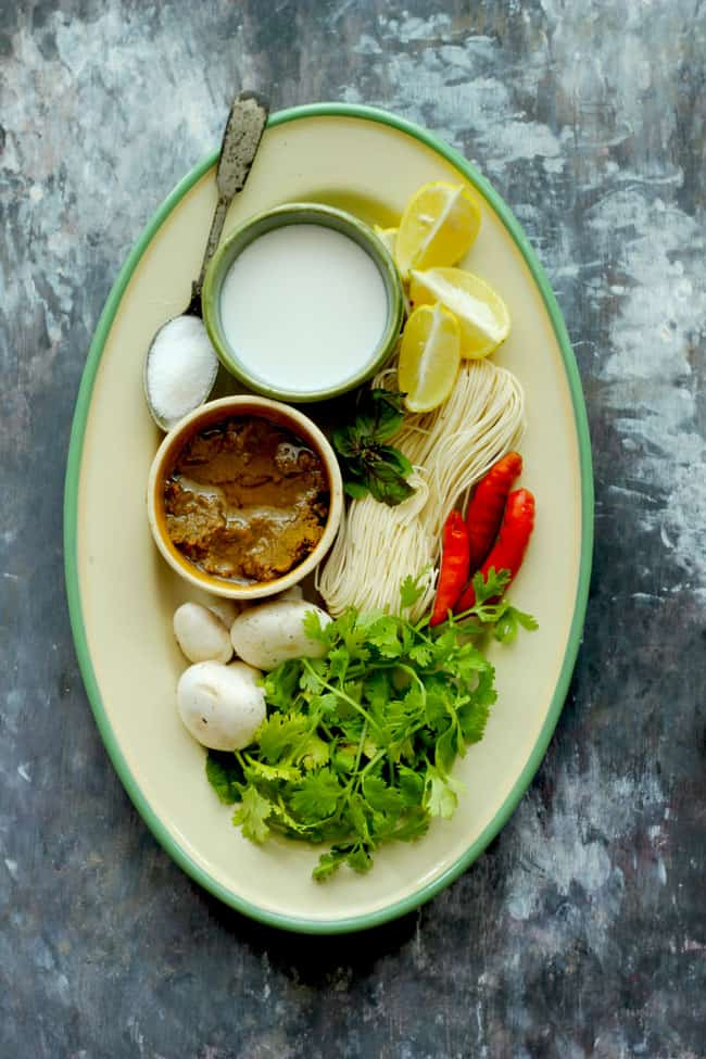 Ingredients for Thai curry soup in a plate