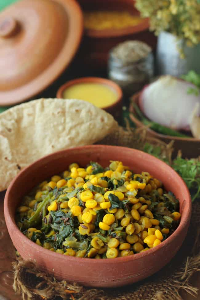 Palak Chana Dal is a healthy, wholesome, gluten-free Indian style chana dal with spinach.