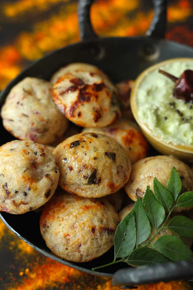 Rava Paniyaram is a vegetarian instant South Indian tea time snack.
