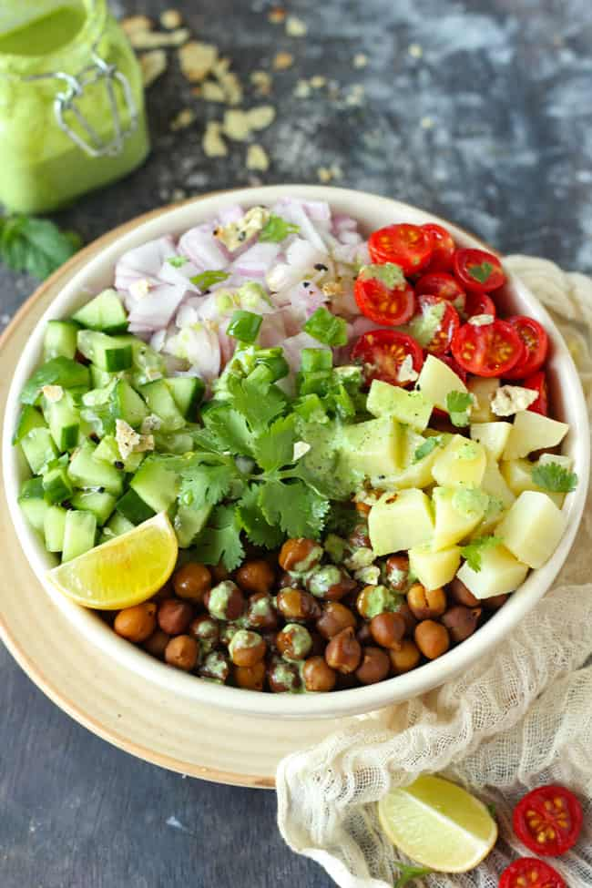 Chana Salad is a protein-packed, gluten-free, healthy brown chana salad.
