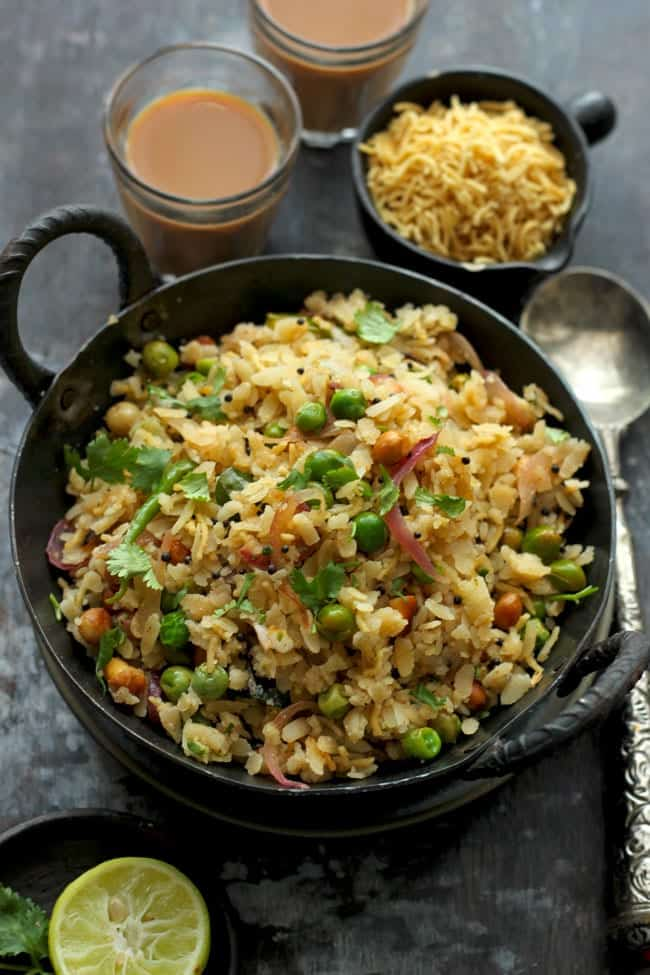 Easy Matar Poha Recipe