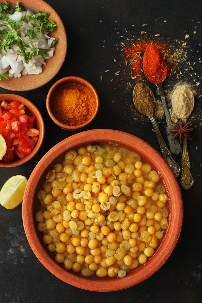 Ingredients for making matar kulcha